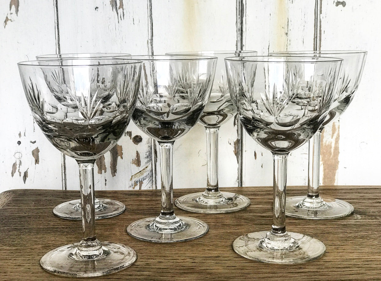 Set of 6 Original 1900's French Cut Crystal Glasses