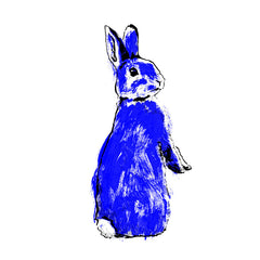 Blue Rabbit illustration by Tiff Howick available as screeenprinted art, tea towel and greetings card
