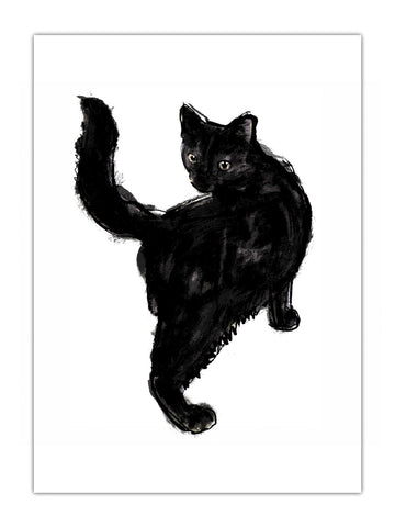 Black Cat illustration screenprint by Tiff Howick available as art prints and greeting cards