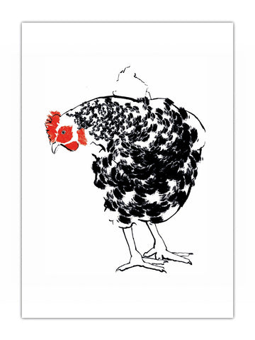 Black & White chicken illustration by Tiff Howick available as hand screenprinted art print, tea towel, greeting card