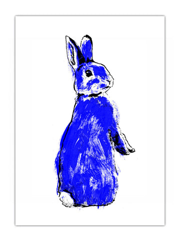 Blue rabbit illustration by Tiff Howick available as screenprinted art, tea towel and greeting card