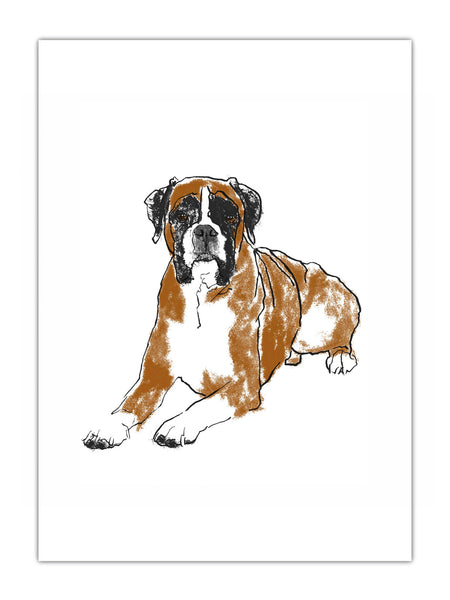 Boxer dog illustration by Tiff Howick available as art prints and greeting cards