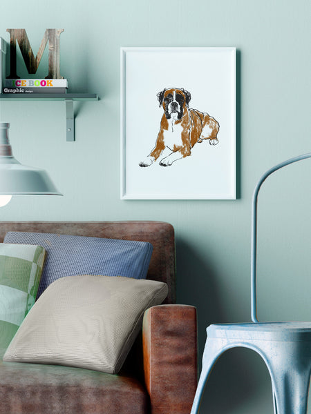 Boxer dog illustration screenprint by Tiff Howick stylish interior home living room A3 medium size art print
