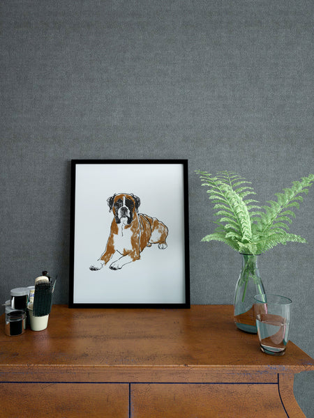 Boxer dog illustration screenprint by Tiff Howick stylish interior home hallway A4 small size art print