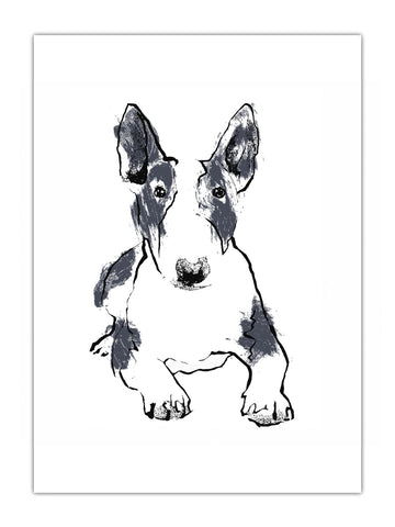 Bull Terrier illustration screenprint available as art prints, tea towels and greeting cards