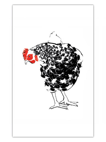 Tiff Howick Chicken illustration printed onto cotton tea towel