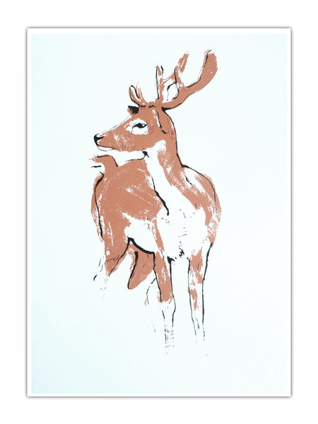 Deer illustration screenprint by Tiff Howick available as hand screenprinted art prints and greeting cards