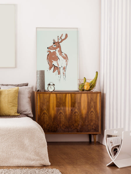 Deer illustration screenprint by Tiff Howick stylish home interior bedroom large art print