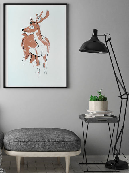Deer illustration screenprint by Tiff Howick stylish home interior living room large art print