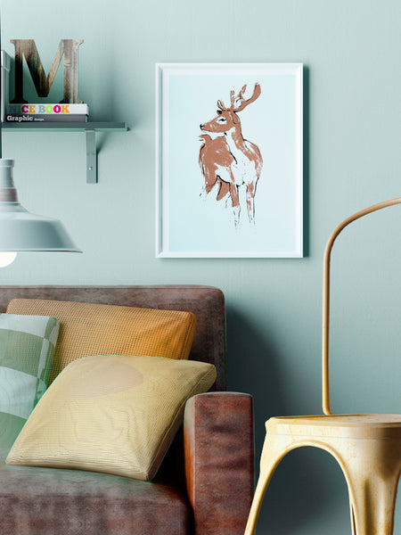 Deer illustration screenprint by Tiff Howick stylish home interior living room A3 medium art print