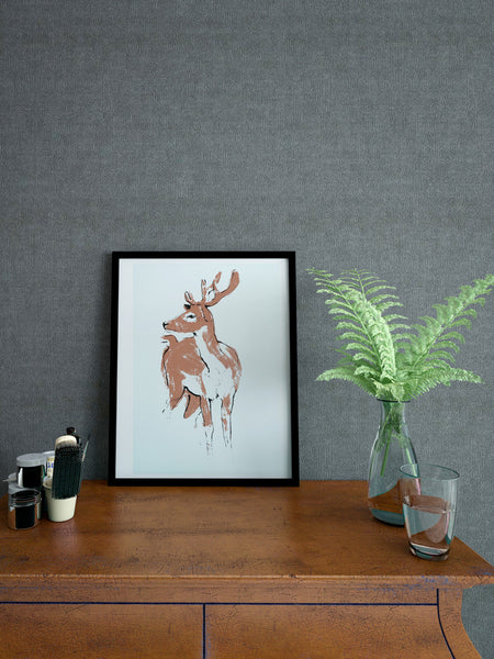 Deer illustration screenprint by Tiff Howick stylish home interior room small A4 art print