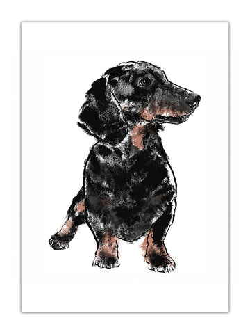 Dachshund illustration by Tiff Howick available as screenprinted art prints, greeting cards, tea towel
