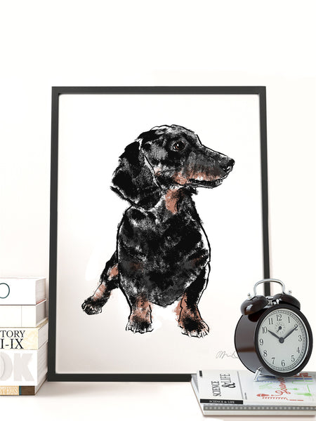 Dachshund illustration screenprint by Tiff Howick A3 medium art print