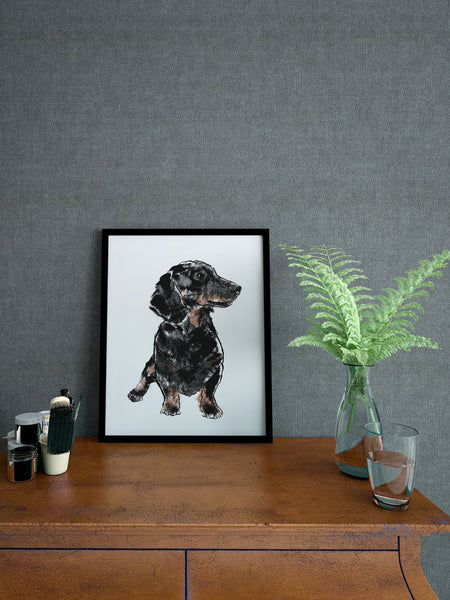 Dachshund illustration screenprint by Tiff Howick stylish interior A4 small art print