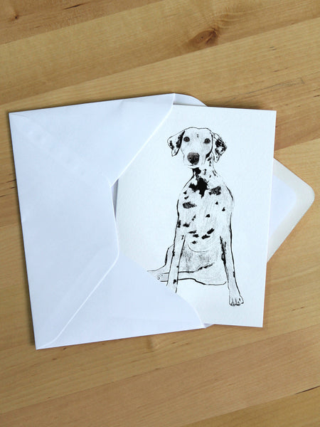 Dalmatian greeting card designed by Tiff Howick blank inside sustainably sourced card and envelope printed in the UK 105 x 148mm