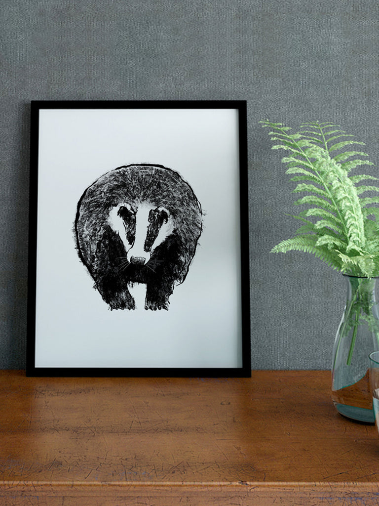 Monochrome badger screenprint by Tiff Howick handprinted in East London available in two sizes 21 x 30 cm and 30 x 42 cm