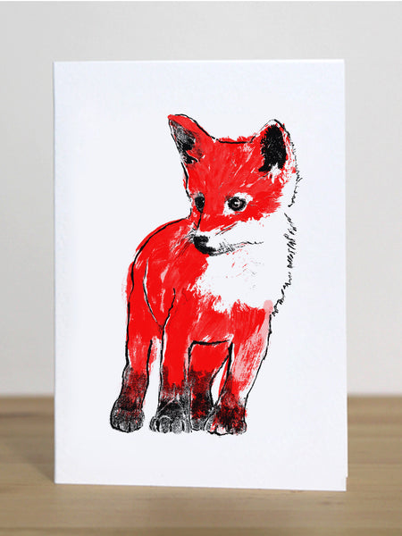 Fox Cub greeting card designed by Tiff Howick blank inside sustainably sourced card and envelope