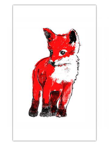 Red Fox Cub illustration by Tiff Howick screenprinted onto ethically sourced cotton tea towels 48 x 78 cm
