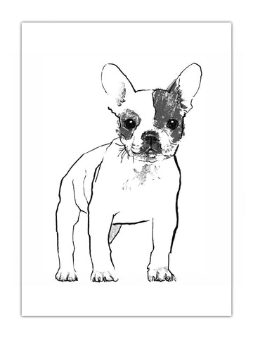 French Bulldog illustration by Tiff Howick available as screenprint, tea towel, greeting card