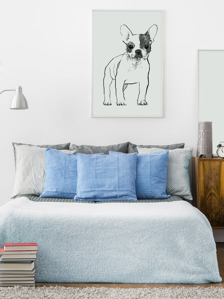 French Bulldog illustration screenprint by Tiff Howick in stylish interior bedroom large art print