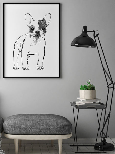 French Bulldog illustration screenprint by Tiff Howick in stylish interior room large art print