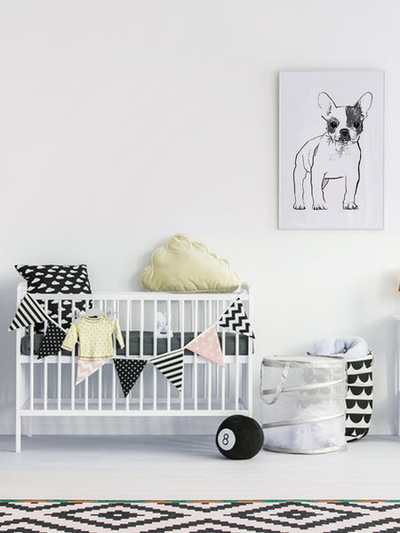 French Bulldog illustration screenprint by Tiff Howick in stylish interior child nursery room large art print