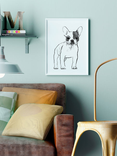 French Bulldog illustration screenprint by Tiff Howick in stylish interior room A3 medium size art print