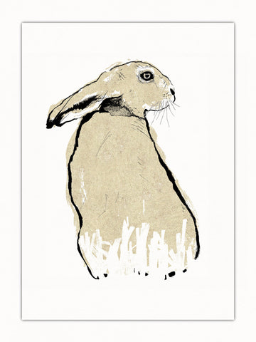 Gold Hare illustration by Tiff Howick available as art print and greeting cards