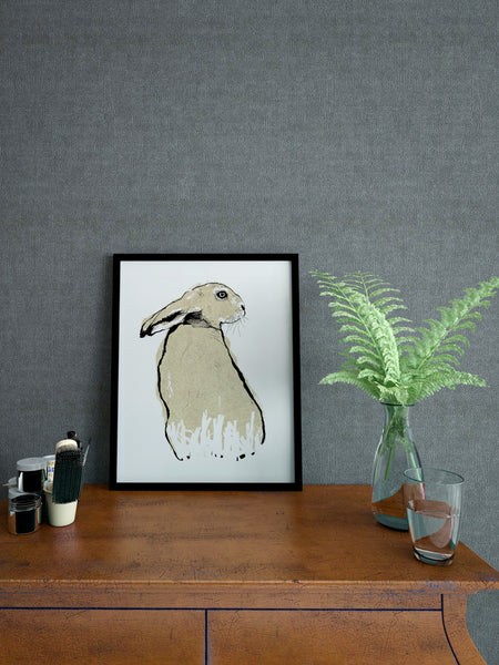 Gold Hare illustration screenprint by Tiff Howick stylish home interior A4 small size art print