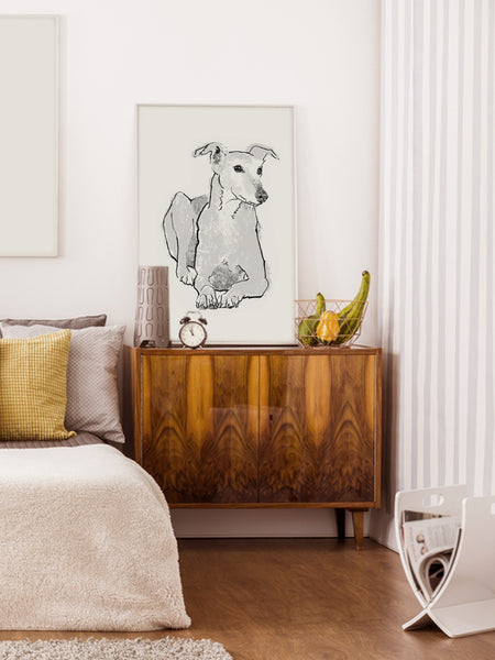 Greyhound illustration screenprint by Tiff Howick stylish bedroom large art print