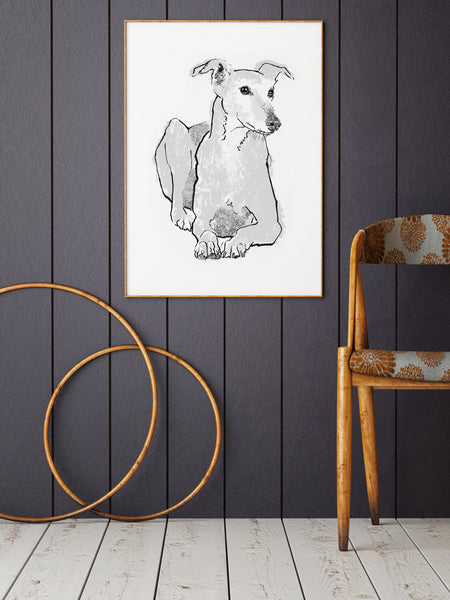 Greyhound illustration screenprint by Tiff Howick stylish home living room large art print