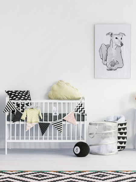 Greyhound illustration screenprint by Tiff Howick stylish child nursery room large art print