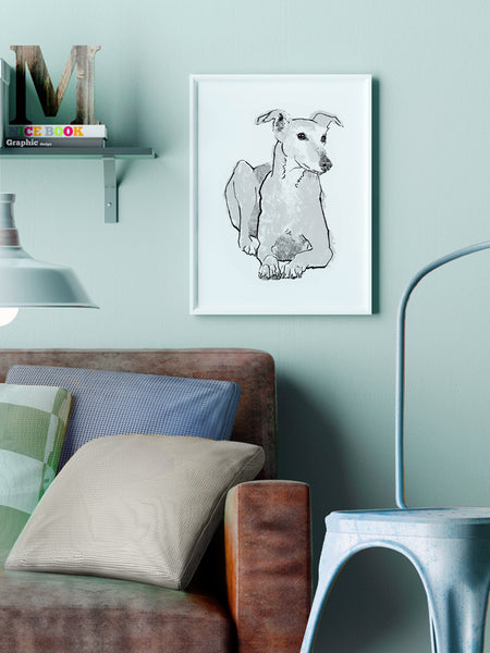 Greyhound illustration screenprint by Tiff Howick stylish home living room A3 medium size art print