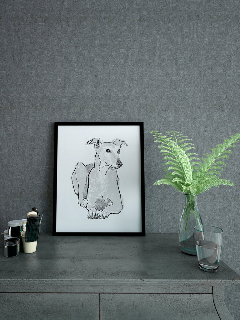 Handmade screenprint Greyhound illustration by Tiff Howick 210 x 297mm silver ink on sustainably sourced paper