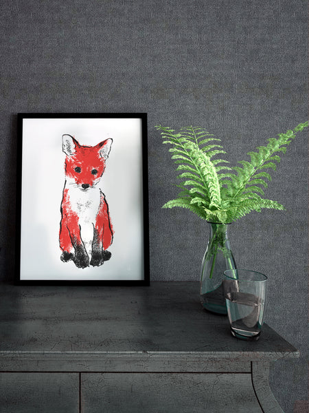 Red Fox Cub illustration by Tiff Howick available as screenprinted art, tea towel and greeting card