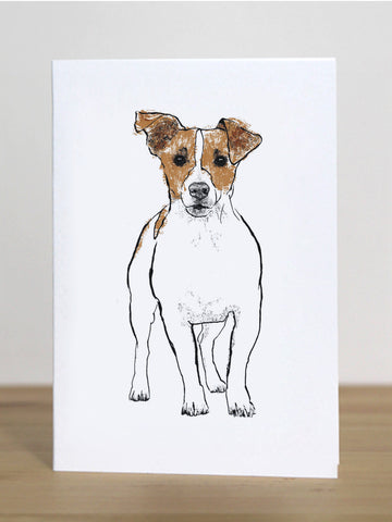 Jack Russell greeting card designed by Tiff Howick blank inside made in the UK from sustainably sourced card 105 x 148mm