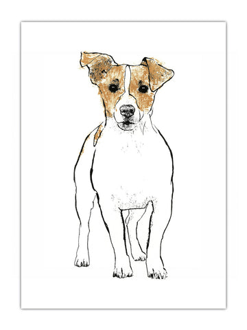 Jack Russell illustration by Tiff Howick available as screenprinted art print and greeting card