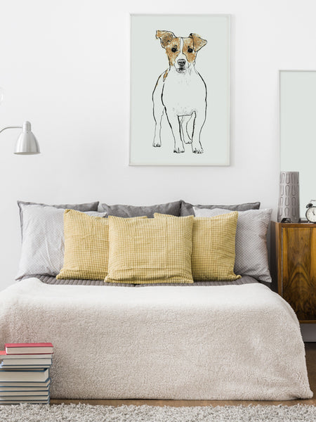 Jack Russell illustration screenprint by Tiff Howick stylish home bedroom large art print