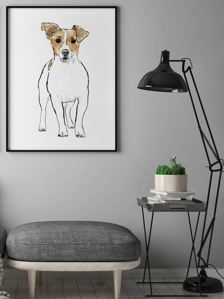 Jack Russell illustration screenprint by Tiff Howick stylish interior living room large art print