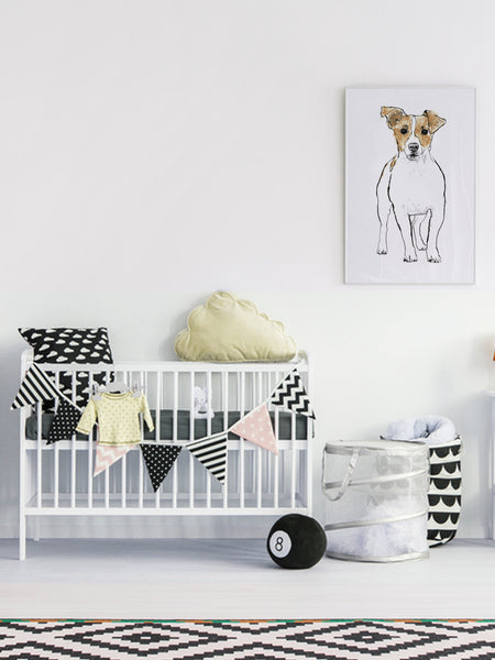 Jack Russell illustration screenprint by Tiff Howick stylish child nursery room large art print