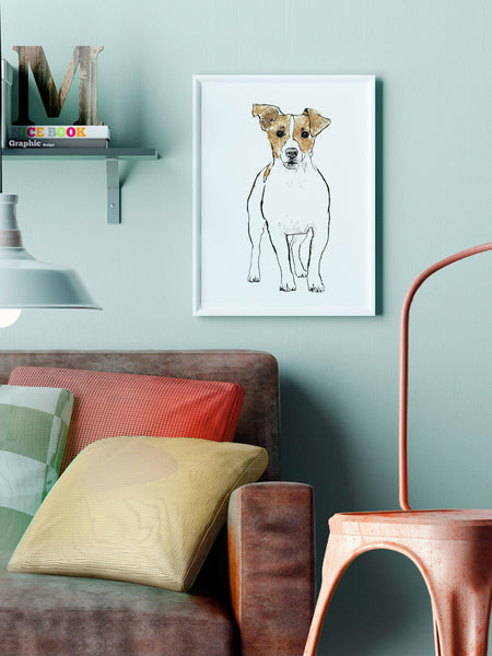 Jack Russell illustration screenprint by Tiff Howick stylish interior living room A3 medium size art print