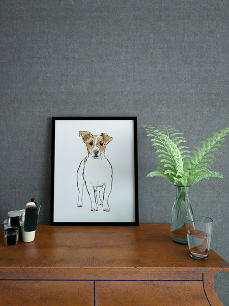 Jack Russell illustration screenprint by Tiff Howick stylish home interior A4 small size art print