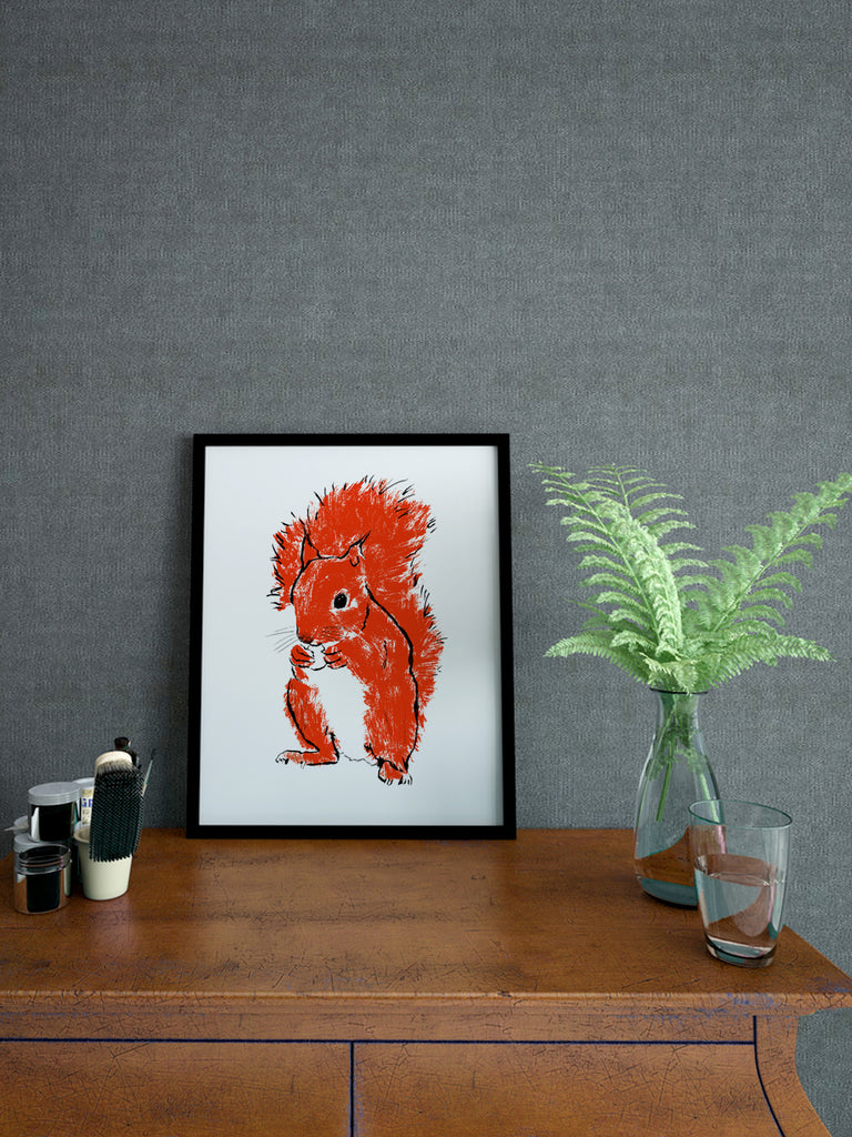 'Kevin' Red Squirrel screenprint