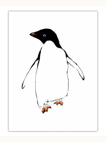 Penguin illustration screenprint by Tiff Howick available as art prints, greeting cards, tea towels