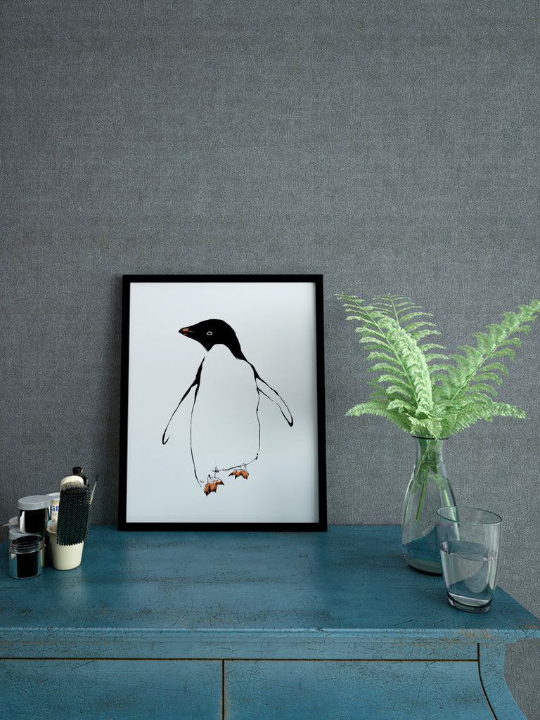 Penguin illustration screenprint by Tiff Howick stylish interior bedroom A4 small art print