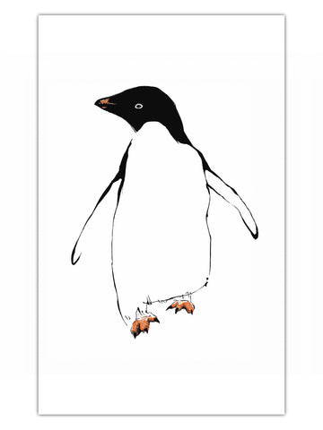 Penguin illustration by Tiff Howick printed onto ethically sourced cotton tea towel 48 x78 cm