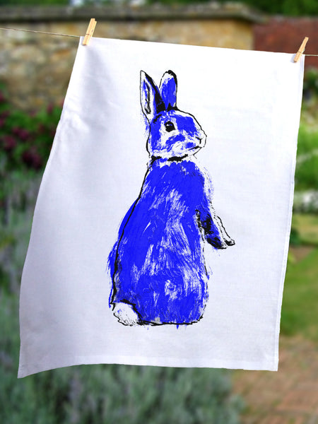 Blue Rabbit tea towel by Tiff Howick ethically sourced cotton 48 x 78 cm