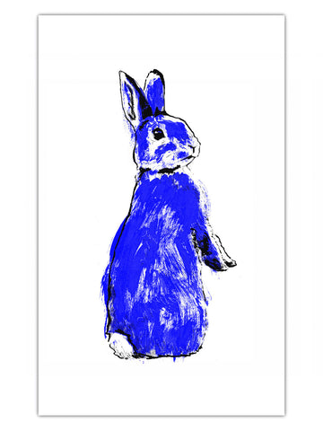 Blue Rabbit illustration by Tiff Howick available as a tea towel 48 x 78 cm
