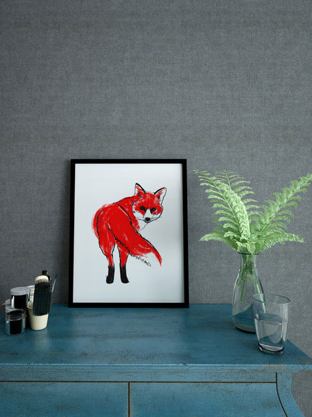 Red Fox illustration screenprint by Tiff Howick stylish interior living room A4 small art print