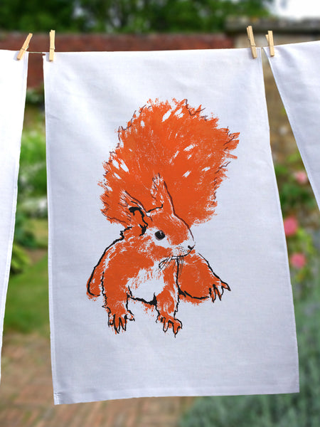 Red Squirrel illustration by Tiff Howick screenprinted on to ethically sourced cotton tea towels 48 x 78 cm